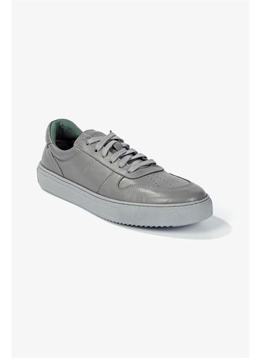 Krähe Cuervo Gri Deri Minimal Sneaker Gri